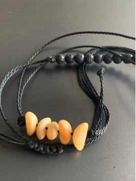 Bracelet - Lien serrage cordon avec perles rondes et 1/2 lune