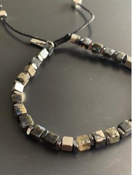 Bracelet Acier - Perles cubes/rondelles sur cordon et lien serrage
