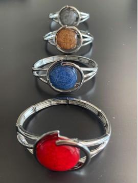 Bracelet éla - Rond en résine avec spirale métal
