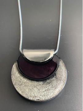Collier - Pendentif 1/2 cercle métal/brillant/translucide sur chaine
