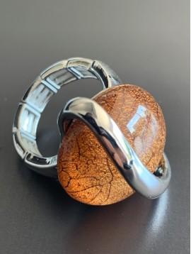 Bague éla - Rond en résine avec spirale métal