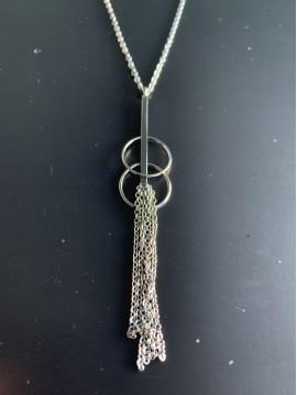 Collier Acier Long - 2 Cercles lisses avec barre et pompon chaine