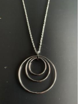 Collier Acier Long - 3 Cercles concentriques lisses