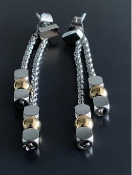 BO percées Acier - 2 Rangs avec perles rondes et carrés