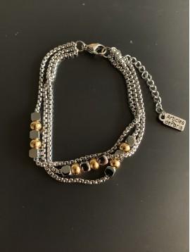 Bracelet Acier - 3 Rangs avec perles rondes et carrés