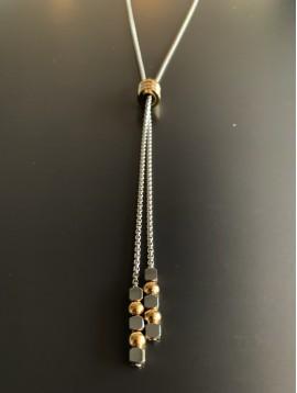 Collier Acier en Y - 3 Anneaux et bout avec perles rondes et carrés