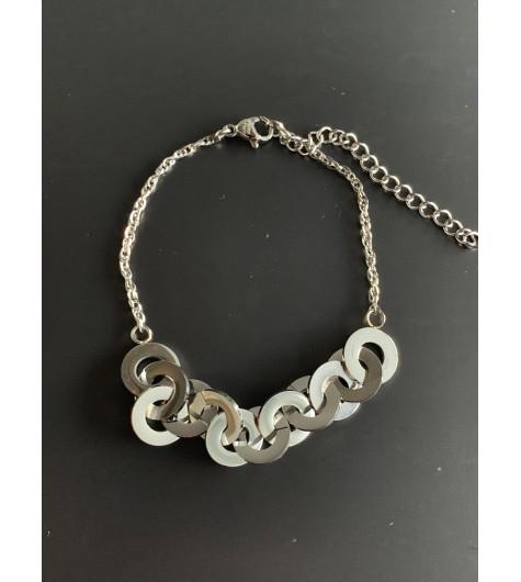 Bracelet Acier - Anneaux entrelassés sur chaine