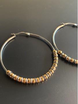 BO créoles Acier - Cercle avec perles