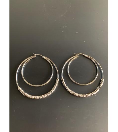 BO créoles Acier - Cercles concentriques lisses et avec perles