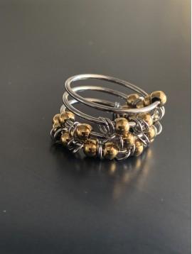 Bague Acier - Accordéon avec perles