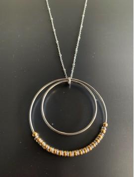 Collier Acier Long - Cercles concentriques lisses et avec perles