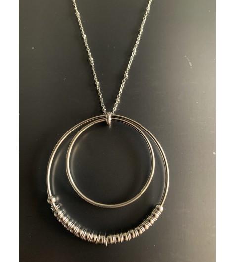 Collier Acier - Cercles concentriques lisses et avec perles