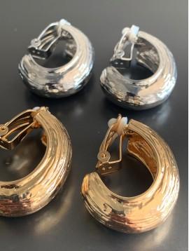 BO clips - Style d'ovale ouvert en métal strié