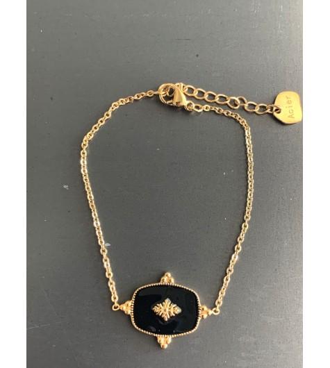 Bracelet Acier - Rectangle peint avec triangle 3 boules coté