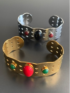 Bracelet Acier - Jonc ouvert perforé avec 1 ovale/2 ronds résine