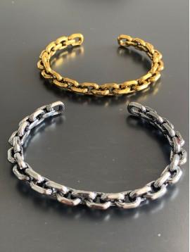 Bracelet - Jonc ouvert style chaine en métal rigide