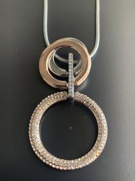 Collier - Anneaux strass/lisse sur chaine serpent