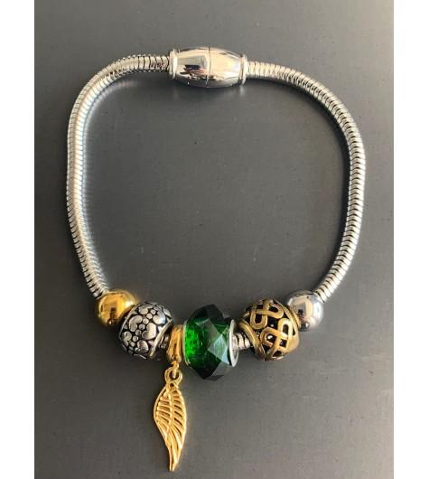 Bracelet Acier - Aimant avec perles diverses et aile métal