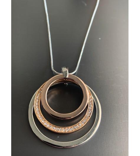 Collier Long - Dégradé d'anneaux strass/lisse sur chaine serpent