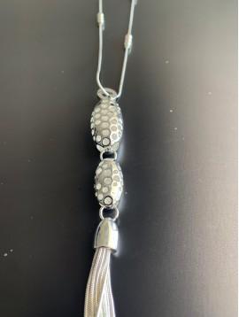Collier Long - Ovales perforées et pompon chaine métal