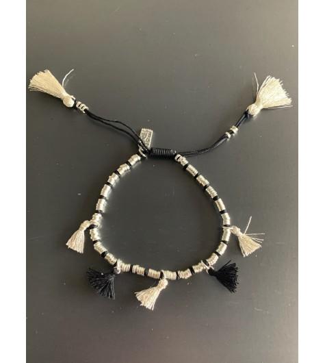 Bracelet Acier - Lien serrage cordon avec rondelles et pompons fils