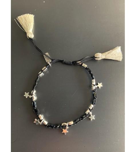 Bracelet Acier - Lien serrage cordon avec étoiles et pompons fils