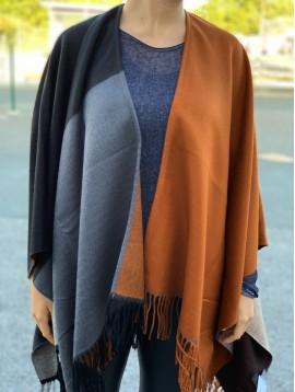 Poncho patchwork couleur et bord franges