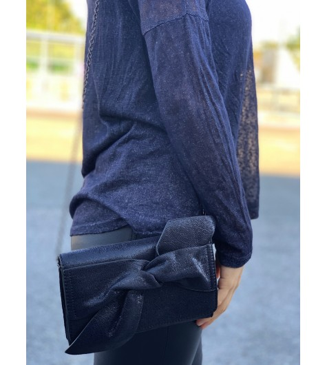 Sac porté travers/pochette brillante avec gros noeud