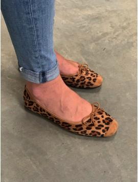 Ballerines peau de pêche léopard et bout façon daim