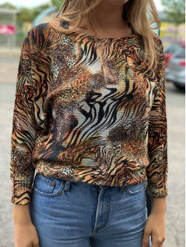 Pull tricot impr tigre manches 3/4