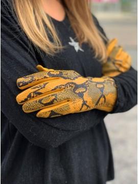 Gants peau de pêche façon reptile brillant