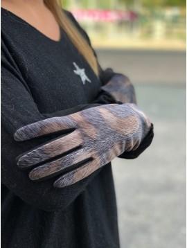 Gants peau de pêche façon poils