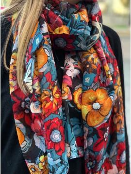 Echarpe soie impr fleurs divers très serrées