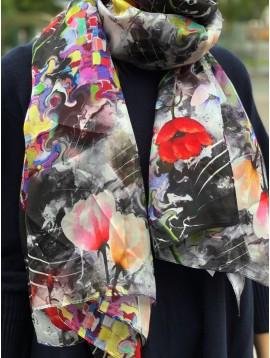 Echarpe soie impr bouquets de tulipes