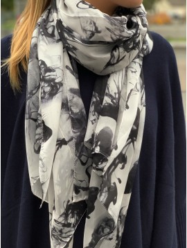 Silk Scarf - Water color style flowers printing.