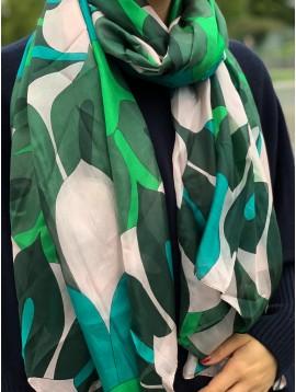 Echarpe soie impr feuilles géométriques