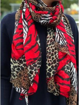 Echarpe soie impr vagues léopard/zèbre/girafe