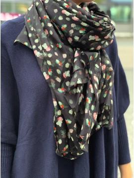 Echarpe soie impr petits points de couleurs abstraits