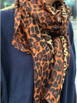 Echarpe soie impr léopard dégradée de couleurs