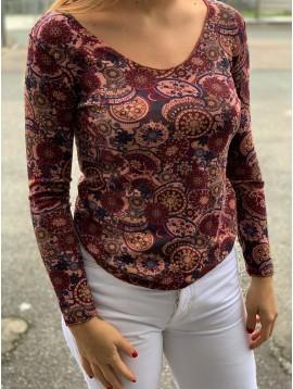 Tshirt manches longues motif fleurs/cachemires/rosaces