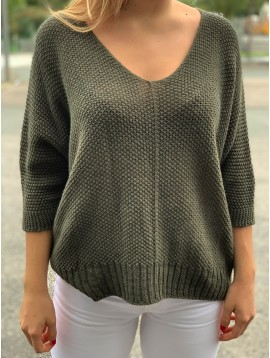 Pull tricot manches 3/4