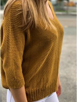 Pull tricot avec étoile dans le dos manches 3/4
