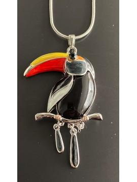 Collier Long - Toucan sur chaine serpent
