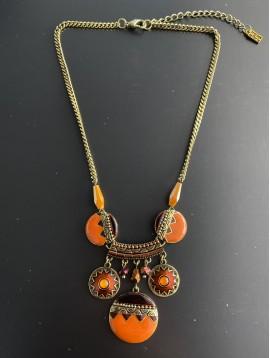 Collier - Ronds style mosaiques avec perles facettes pendantes
