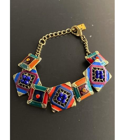 Collier - Carrés style mosaiques avec perles facettes pendantes