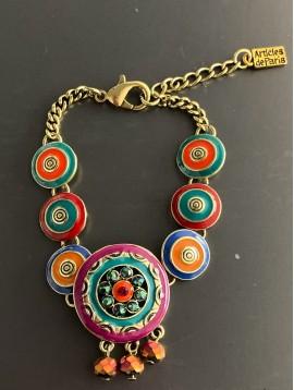Bracelet - Cercles émail avec strass et perles pendantes