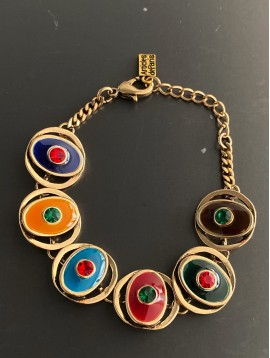 Bracelet - Ovales/ronds/triangles avec émail et strass