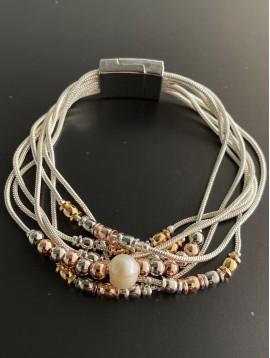 Bracelet aimant - Multirangs avec perles diverses et perle culture