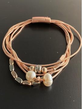 Bracelet aimant - Multirangs avec perles grains de riz et perles cultu