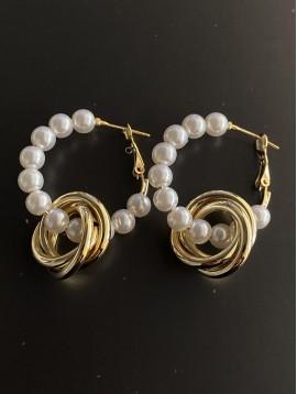 BO créoles - Avec perles et anneaux entrelassés